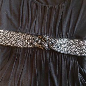 LOFT stretch black & white button closure belt